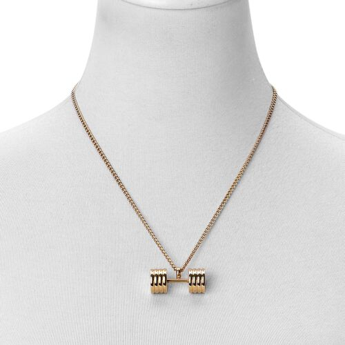 Dumbbell Shape Pendant With Chain (Size 20) in ION Plated Gold Stainless Steel