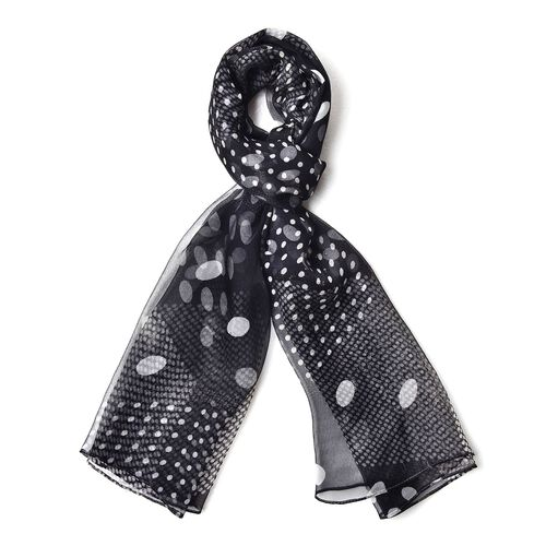 100% Mulberry Silk Black and White Colour Polka Dots Pattern Scarf (Size 150X80 Cm)