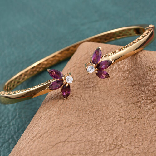 Rhodolite Garnet (Mrq), Natural Cambodian Zircon Bangle (Size 7.5) in ION Plated 18K Yellow Gold Bond 3.000 Ct.