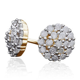 9K Yellow Gold 0.50 Carat Diamond Cluster Stud Earrings SGL Certified I3 G-H