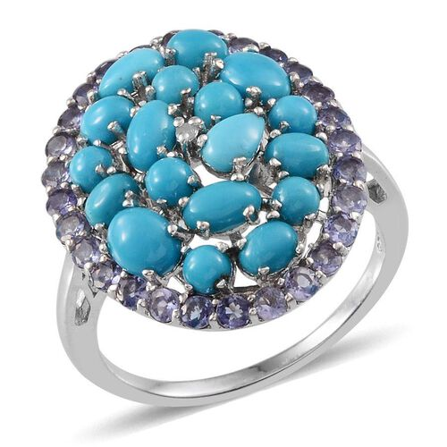 Arizona Sleeping Beauty Turquoise (Ovl), Tanzanite and Diamond Cluster Ring in Platinum Overlay Sterling Silver 4.760 Ct.