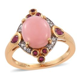 Natural Peruvian Pink Opal (Ovl 2.75 Ct), African Ruby and Natural Cambodian Zircon Ring in 14K Gold Overlay Sterling Silver 3.500 Ct.