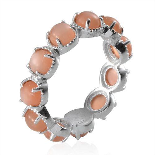 Mitiyagoda Peach Moonstone (Rnd) Full Eternity Ring in Platinum Overlay Sterling Silver 5.750 Ct.