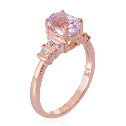 AAA Brazilian Kunzite (Ovl 1.75 Ct), Natural Cambodian Zircon Ring in Rose Gold Overlay Sterling Silver 2.000 Ct.