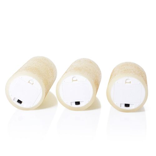 Set of 3 - Golden Colour Flameless Glitter Wax Candles with a Remote Control (Size 7.6x15/ 7.6x12/ 7.6x10 Cm)
