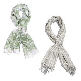Set of 2- Green and White Colour Printed (Size 170x50 Cm) and Grey and Cream Colour Yarn Dyed Stripe Pattern Scarf with Fringes (Size 180x70 Cm)