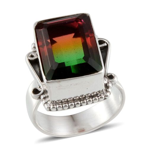 Rainbow Genesis Quartz (Cush) Solitaire Ring in Sterling Silver 13.120 Ct.