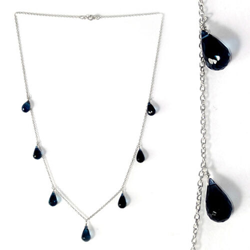 London Blue Topaz Necklace (Size 18) in Platinum Overlay Sterling Silver 21.000 Ct.
