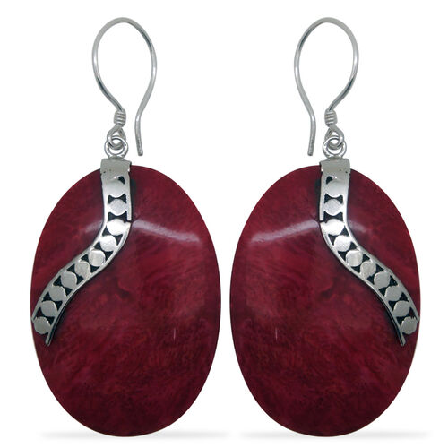 (Option 1) Royal Bali Collection Sponge Coral Hook Earrings in Sterling Silver 18.000 Ct.