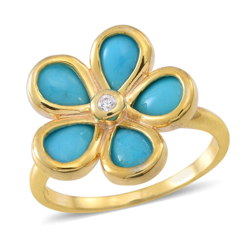 Arizona Sleeping Beauty Turquoise (Pear), White Zircon Floral Ring in 14K Gold Overlay Sterling Silver 2.500 Ct.