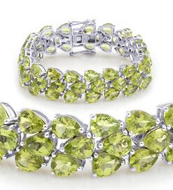 Hebei Peridot (Pear) Bracelet in Rhodium Plated Sterling Silver (Size 7) 50.000 Ct.