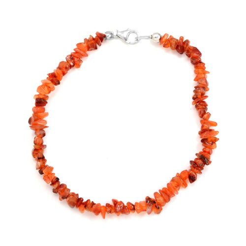 Summertime Collection Carnelian Bracelet in Platinum Overlay Sterling Silver 55.000 Ct.