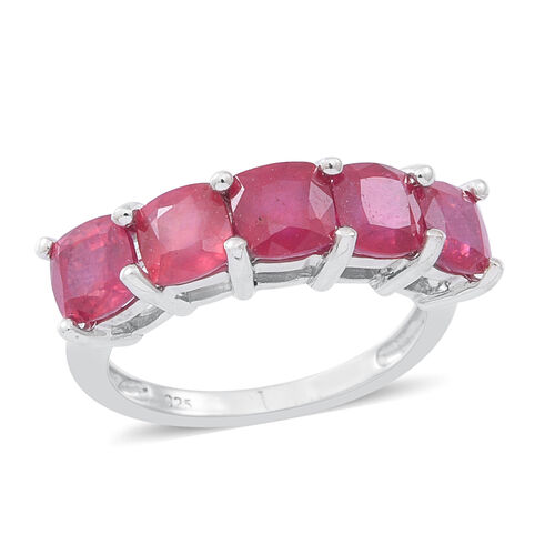 African Ruby (Cush) 5 Stone Ring in Rhodium Plated Sterling Silver 3.750 Ct.