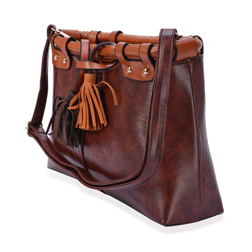 Sofia Tassels Bag with External Zipper Pocket and Adjustable Shoulder Strap  (Size 36x19x6.5 Cm)