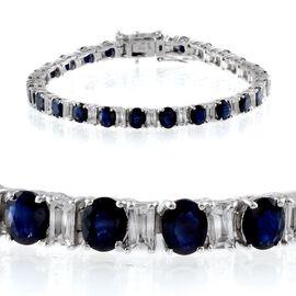 Kanchanaburi Blue Sapphire (Ovl), White Topaz Bracelet in Platinum Overlay Sterling Silver (Size 7) 14.000 Ct.