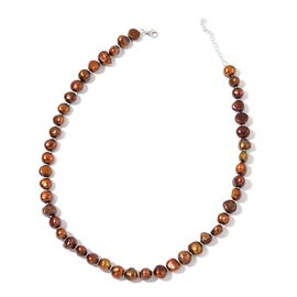 Fresh Water Chocolate Pearl Necklace in Sterling Silver (Size 18 with 1 inch Extender)