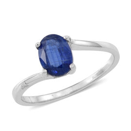 Himalayan Kyanite (Ovl) Solitaire Ring in Rhodium Plated Sterling Silver 1.500 Ct.
