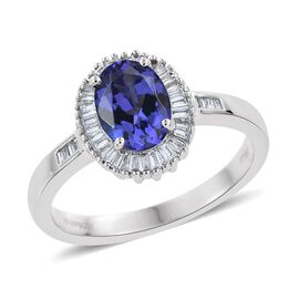 RHAPSODY 950 Platinum 1.50 Carat AAAA Tanzanite Halo Ring With Diamond VS E-F
