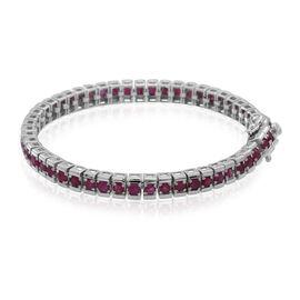 AAA Burmese Ruby (Rnd) Tennis Bracelet (Size 7) in Rhodium Plated Sterling Silver 7.500 Ct.