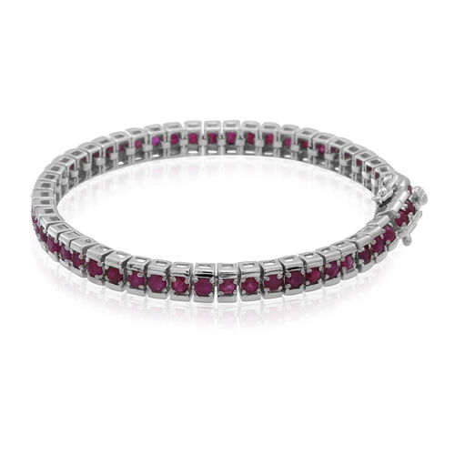 AAA Burmese Ruby (Rnd) Tennis Bracelet (Size 7.5) in Rhodium Plated Sterling Silver 8.000 Ct.
