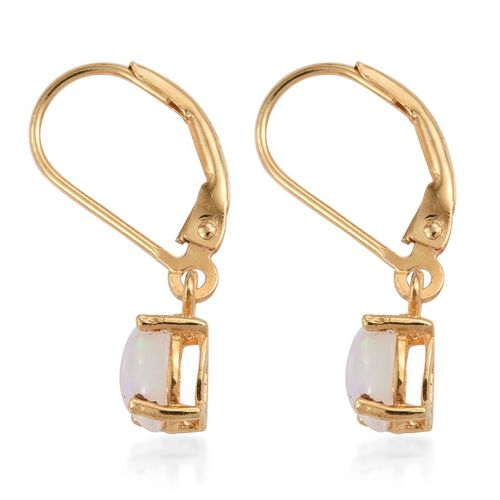 Ethiopian Opal (Ovl) Lever Back Earrings in 14K Gold Overlay Sterling Silver 1.000 Ct.