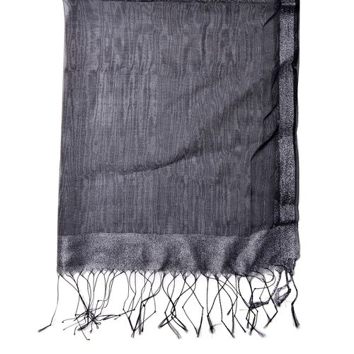 Black Colour Scarf with Silver Thread and Fringes at the Bottom 50 percent SILK 50 percent polyester (Size 175x65 Cm)