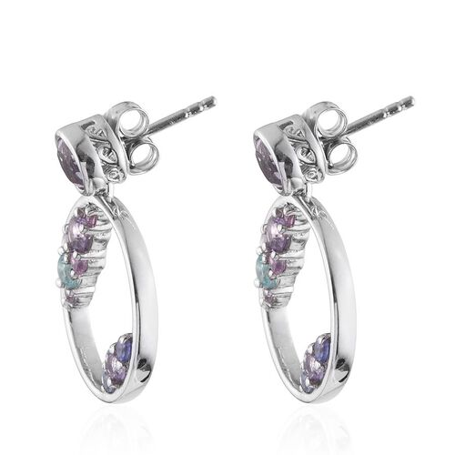 Kimberley Distant Shore Collection Rose De France Amethyst (Rnd), Paraibe Apatite, Pink Sapphire and Tanzanite Earrings (with Push Back) in Platinum Overlay Sterling Silver
