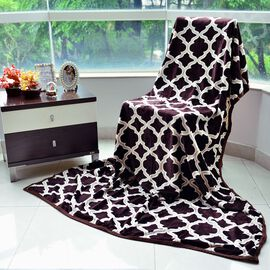 Superfine Microfibre Flannel Printed Blanket Moroccan Style Chocolate, Cream and Multi Colour (Size 150x200 cm)