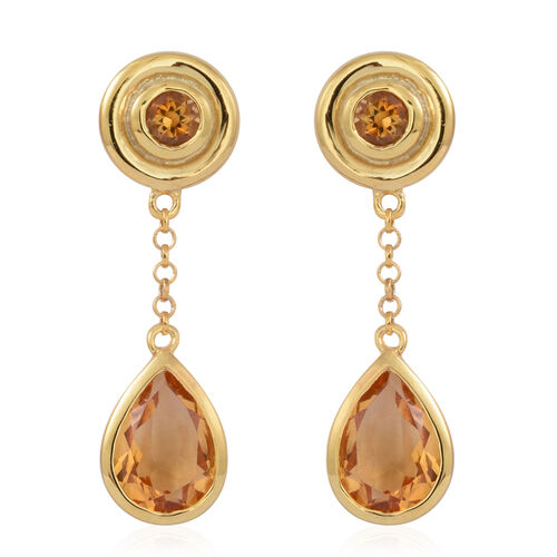 Citrine (Pear) Earrings (with Push Back) in 14K Gold Overlay Sterling Silver 3.500 Ct.