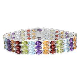 Close Out Deal Mozambique Garnet (Ovl), Sky Blue Topaz, Hebei Peridot, Citrine and Amethyst Bracelet in Rhodium Plated Sterling Silver (Size 6.5) 38.250 Ct.