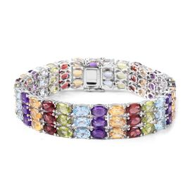 Close Out Deal Mozambique Garnet (Ovl), Sky Blue Topaz, Hebei Peridot, Citrine and Amethyst Bracelet in Rhodium Plated Sterling Silver (Size 7.5) 45.250 Ct.