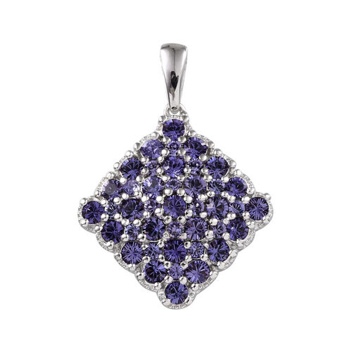 J Francis Crystal from Swarovski - Tanzanite Colour Crystal (Rnd) Cluster Pendant in ION Plated Platinum Bond