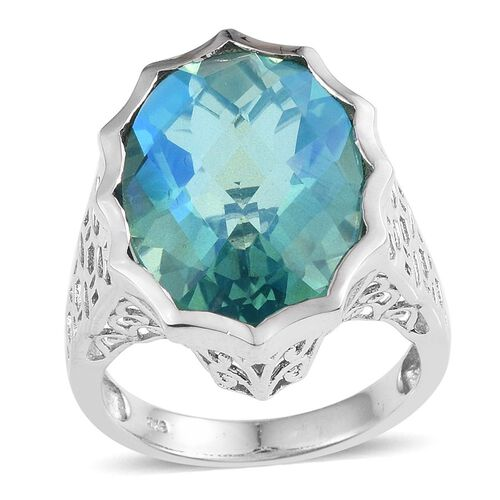 Peacock Triplet Quartz (17.75 Ct) Platinum Overlay Sterling Silver Ring  17.750  Ct.