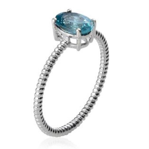 Paraiba Apatite (Ovl) Solitaire Ring in Platinum Overlay Sterling Silver 1.000 Ct.