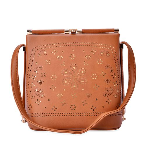 Laser Cut Floral Pattern Tan Colour Clutch Bag With Unique Adjustable Strap (Size 20x20x15 Cm)(Size 20x20x15 Cm)