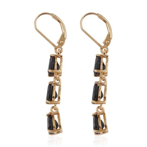 Boi Ploi Black Spinel Pear Drop Silver Earrings with Lever Back in 14K Gold Overlay 5.250 Ct.