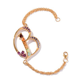 Paraiba Apatite (Ovl), Rhodolite Garnet, Citrine, Tanzanite, Jalisco Fire Opal, Amethyst and Multi Gemstone Initial B Bracelet (Size 9 with Extender) in 14K Gold Overlay Sterling Silver 5.646 Ct.