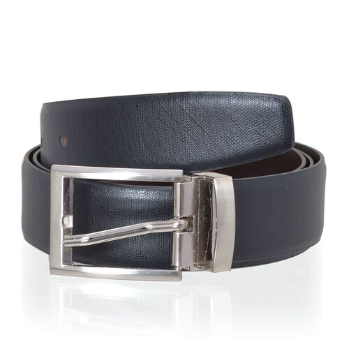Genuine Leather Reversible Black and Brown Colour Mens Belt with Silver Tone Buckle (Size 39-44.5 inch)