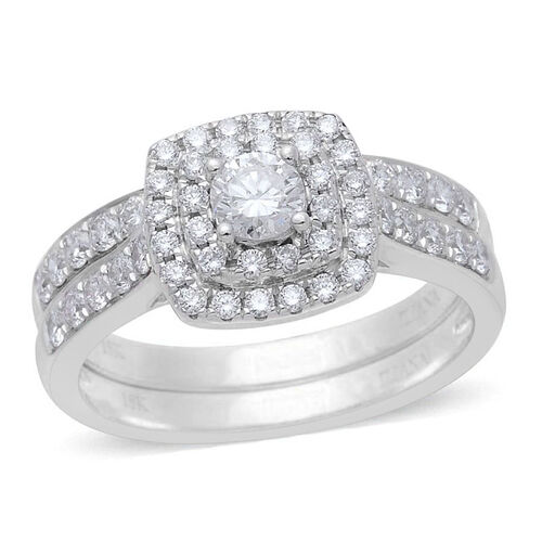 ILIANA 18K White Gold 1 Carat Diamond Bridal Rings Set with Stacker Band Ring IGI Certified SI G-H.