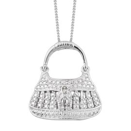Diamond (Rnd) Purse Pendant With Chain in ION Plated Platinum Bond