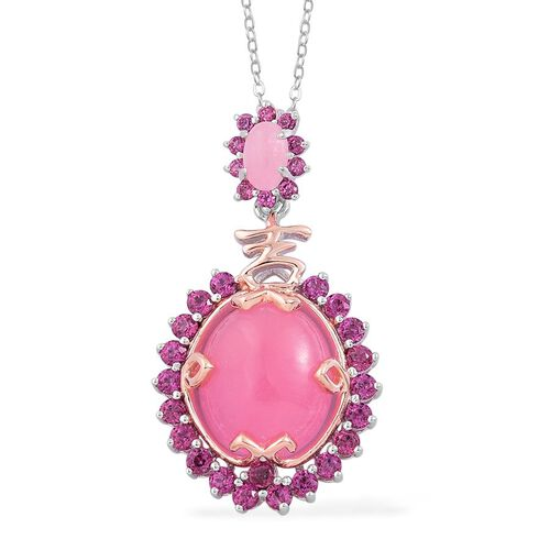 Pink Jade (Ovl 6.25 Ct), Rhodolite Garnet Chinese Symbol Ji (Auspiciousness) Pendant With Chain in Rhodium Plated and Yellow Gold Overlay Sterling Silver 8.000 Ct.