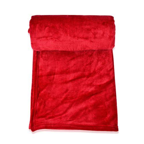 Superfine Microfibre Red Colour Super Soft Blanket (Size 200x150 Cm)