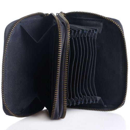 Genuine Leather RFID Blocker Blue Colour Ladies Wallet (Size 12x11x2 Cm)