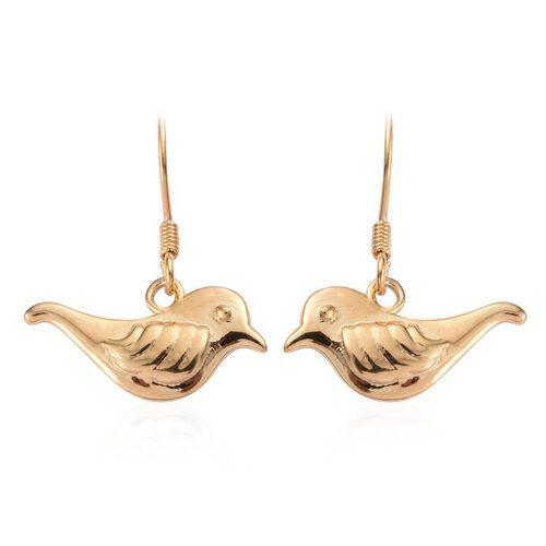 14K Gold Overlay Sterling Silver Birds Hook Earrings, Silver wt 4.16 Gms.