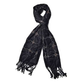 Black Colour AAA White Austrian Crystal Studded Checks Pattern Scarf with Tassels (Size 165x58 Cm)