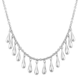 LucyQ Multi Drip Necklace (Size 20) in Rhodium Plated Sterling Silver 13.68 Gms.