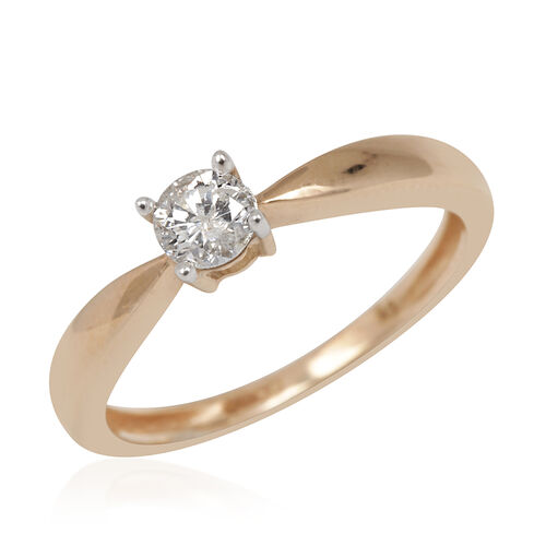 9K Y Gold SGL Certified Diamond (Rnd) (I3/ G-H) Solitaire Ring 0.250 Ct.