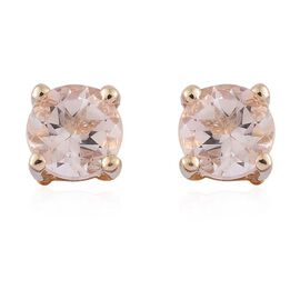 9K Yellow Gold 0.75 ct. AA Marropino Morganite Solitaire Stud Earrings