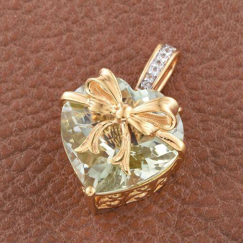 GP Green Amethyst (Hrt 14.00 Ct), White Topaz and Kanchanaburi Blue Sapphire Pendant in 14K Gold Overlay Sterling Silver 14.250 Ct.