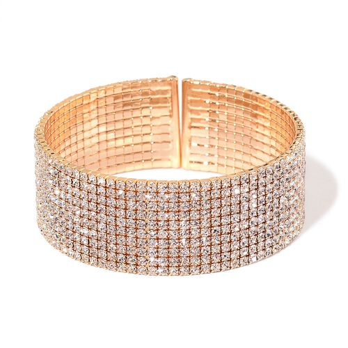 AAA White Austrian Crystal Cuff Bangle in Yellow Gold Tone